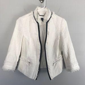WHBM tweed fringe blazer jacket white open front